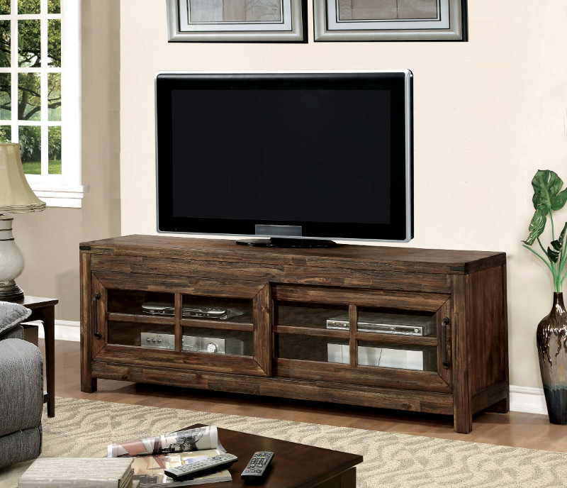 "Furniture of america CM5233-TV Hopkins dark walnut finish wood 72"" tv console media stand"