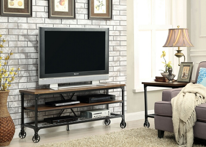 "CM5278-TV-54 Ventura II collection industrial style medium oak finish wood 54"" TV console media stand"