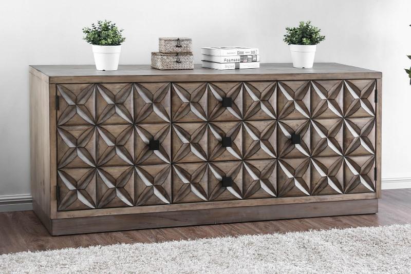 "Furniture of america CM5393-TV Markos II weathered light oak finish wood 64"" tv console media stand"