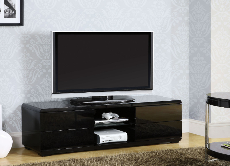 Furniture of america CM5530BK-TV Cerro modern style black high gloss tv stand