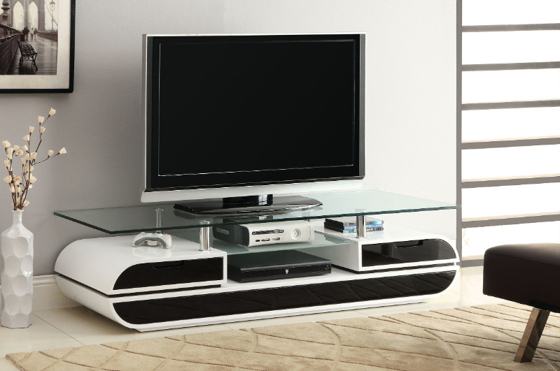 Furniture of america CM5813-TV Evos modern style black and white high gloss finish tempered glass top tv console stand