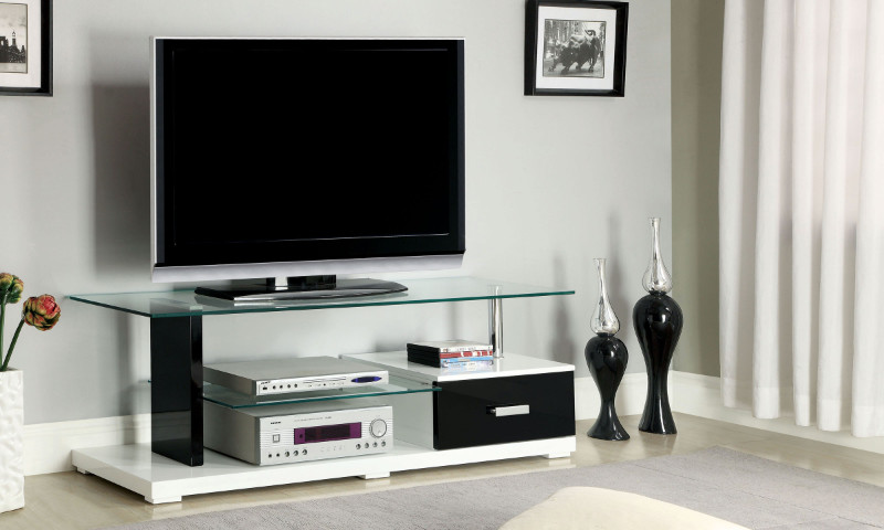 CM5814-TV Egaleo collection modern style black and white high gloss lacquered coating TV entertainment center stand with tempered glass shelves