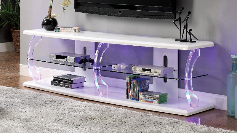 """Furniture of america CM5901WH-TV-72 Ernst white finish wood and acrylic 72"""" tv console media stand"""