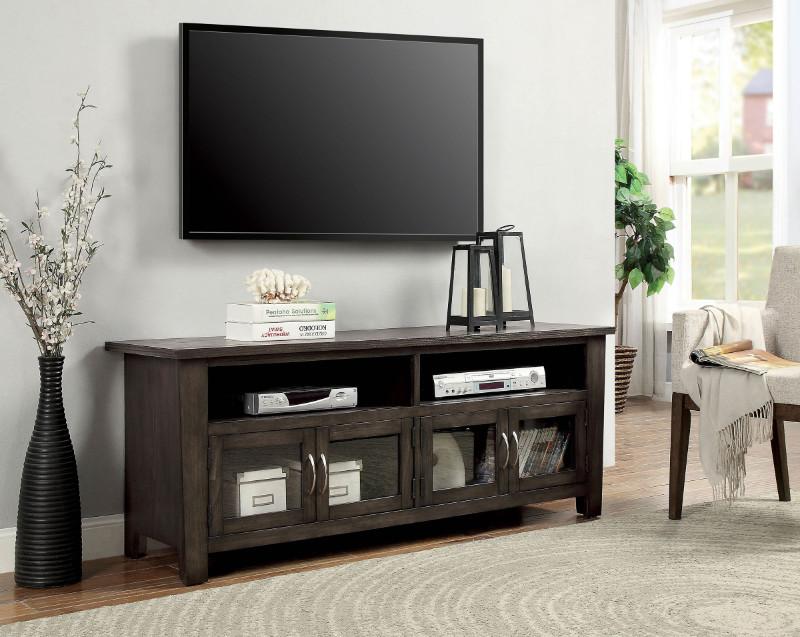 "Furniture of america CM5903-TV-60 Alma gray finish wood 60"" tv console"