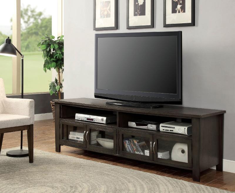 "Furniture of america CM5903-TV-72 Alma gray finish wood 72"" tv console"