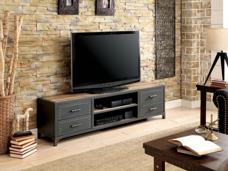 Furniture of america CM5904-TV-62 Galway industrial style sand black finish metal TV stand
