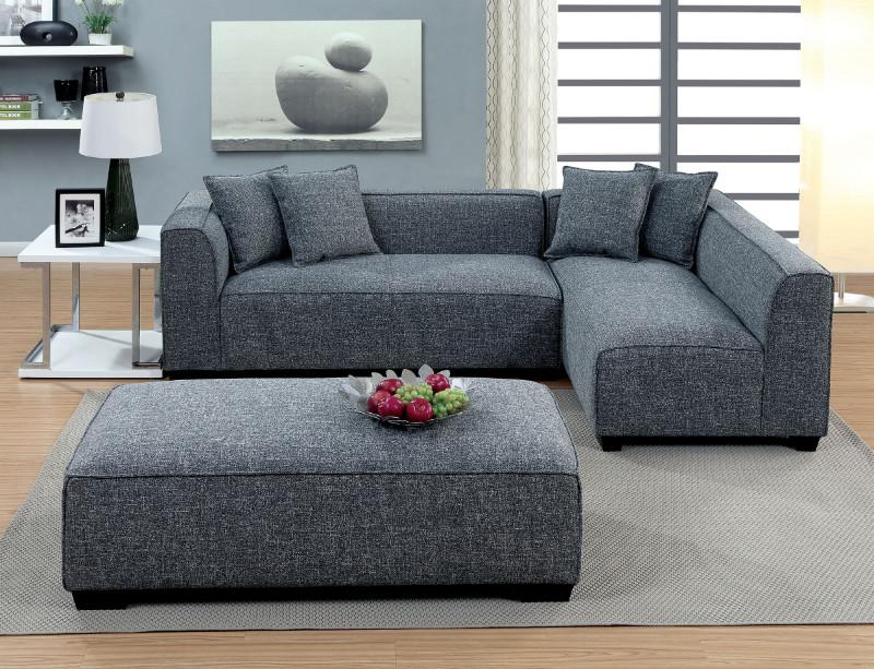 Furniture of america CM6120-OT 3 pc jaylene gray linen fabric sectional sofa set