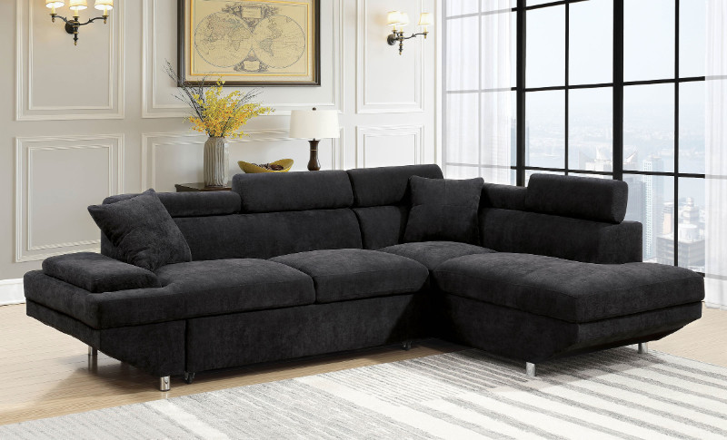 Furniture of america CM6124GY 2 pc foreman black flannelette sectional sofa pullout sleeping area