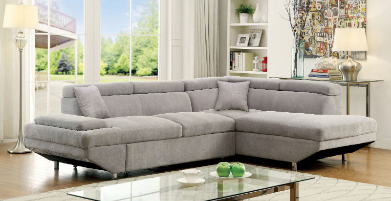 CM6124GY 2 pc Foreman collection contemporary style gray flannelette fabric upholstered sectional sofa with adjustable headrests and pullout sleeping area