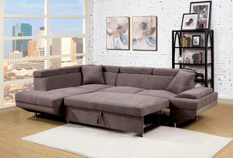 Furniture of america CM6125BR 2 pc foreman brown flannelette sectional sofa with adjustable headrests and pullout sleeping area