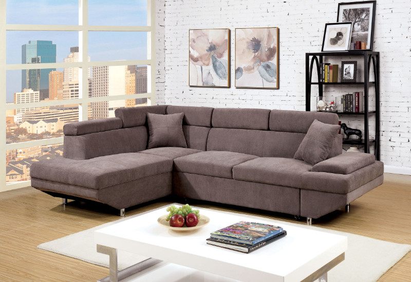 CM6125BR 2 pc Foreman collection contemporary style brown flannelette fabric upholstered sectional sofa with adjustable headrests and pullout sleeping area