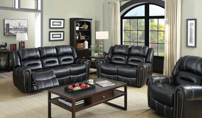 Furniture of america CM6130 2 pc frederick black breathable leatherette sofa and love seat with recliner ends
