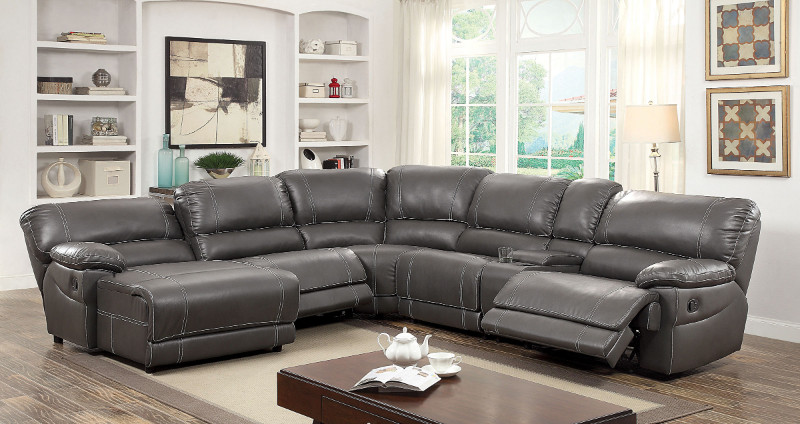 Furniture of america CM6131GY 6 pc estrella gray breathable leatherette sectional sofa with recliners on the ends
