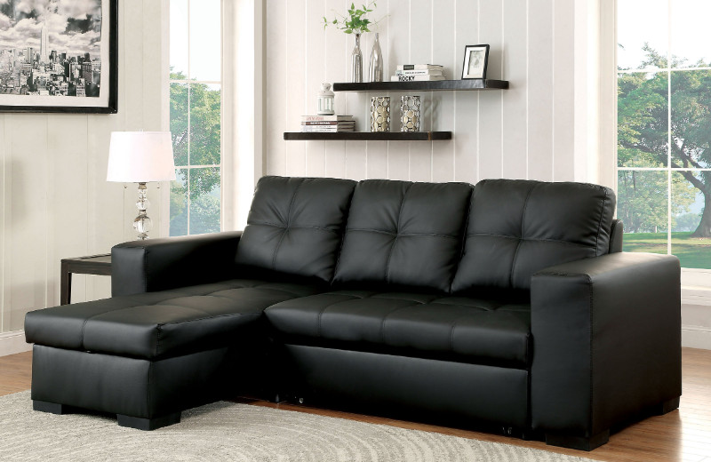 CM6149BK-LTR 2 pc Denton collection black leatherette upholstered contemporary style sectional sofa set