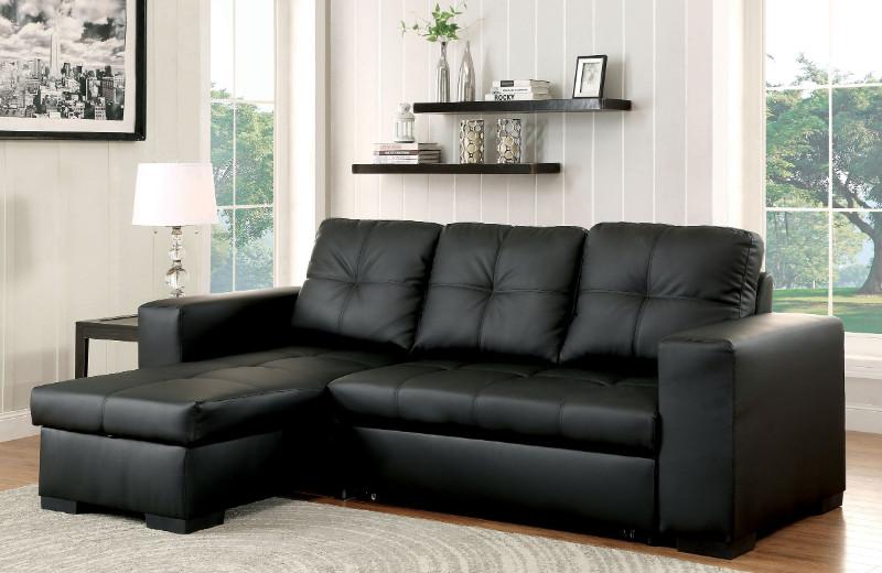 Furniture of america CM6149BK-LTR 2 pc denton black leatherette sectional sofa set