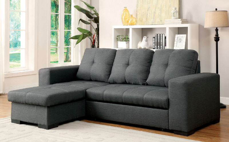 Furniture of america CM6149GY 2 pc denton gray fabric sectional sofa set with sleep area