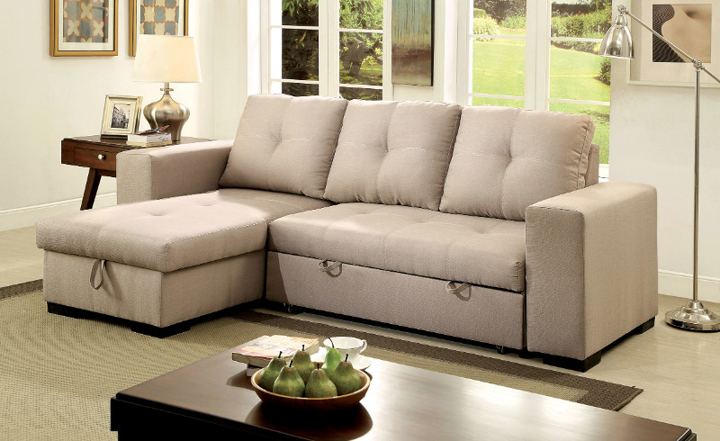 CM6149IV 2 pc Denton collection contemporary style ivory fabric upholstered sectional sofa with pull out sleeping area and storage chaise