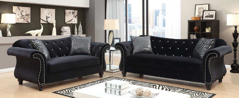 Furniture of america CM6159BK 2 pc jolanda black flannelette fabric sofa and love seat set with tufted backs