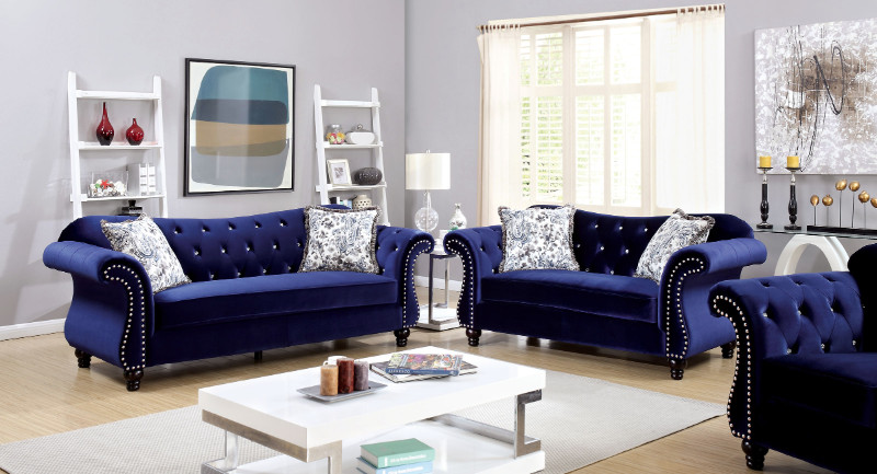 CM6159BL 2 pc Jolanda collection blue flannelette fabric upholstered traditional style sofa and love seat set with nail head trim