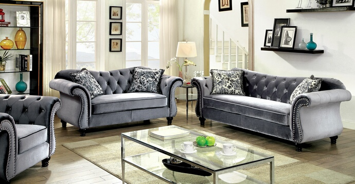 CM6159GY 2 pc Jolanda collection gray flannelette fabric upholstered traditional style sofa and love seat set with nail head trim