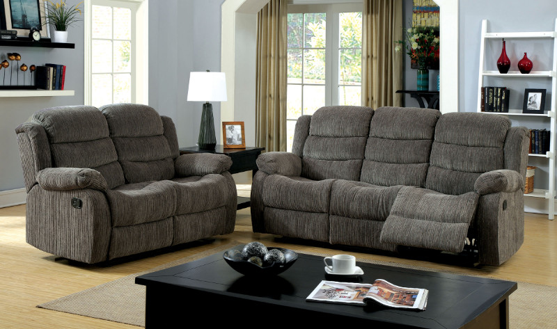 CM6173GY 2 pc Millville collection traditional style gray chenille fabric upholstered standard motion sofa and love seat with recliner ends
