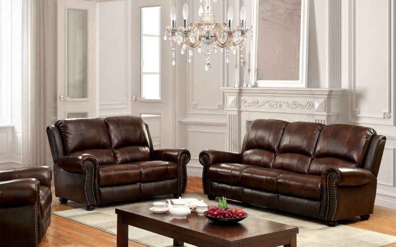 CM6191 2 pc Turton collection brown top grain leather match upholstered sofa and love seat set with rounded arms and nail head trim