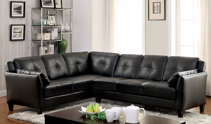 CM6268BK 2 pc Peever collection contemporary style black leatherette sectional sofa with tufted back and padded arms
