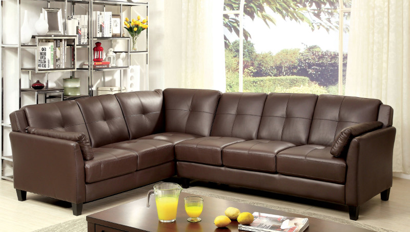 CM6268BR 2 pc Peever collection contemporary style brown leatherette sectional sofa with tufted back and padded arms