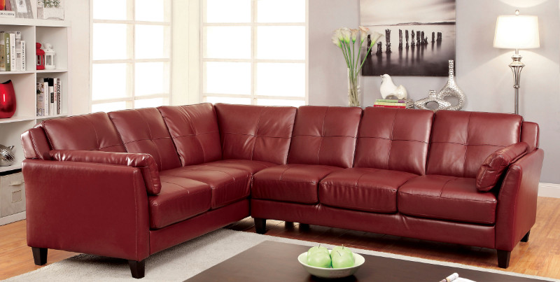 CM6268RD 2 pc Peever collection contemporary style mahogany red leatherette sectional sofa with tufted back and padded arms