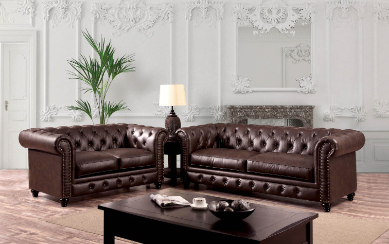 CM6269BR 2 pc Stanford collection brown leatherette upholstered traditional style sofa and love seat set with nail head trim