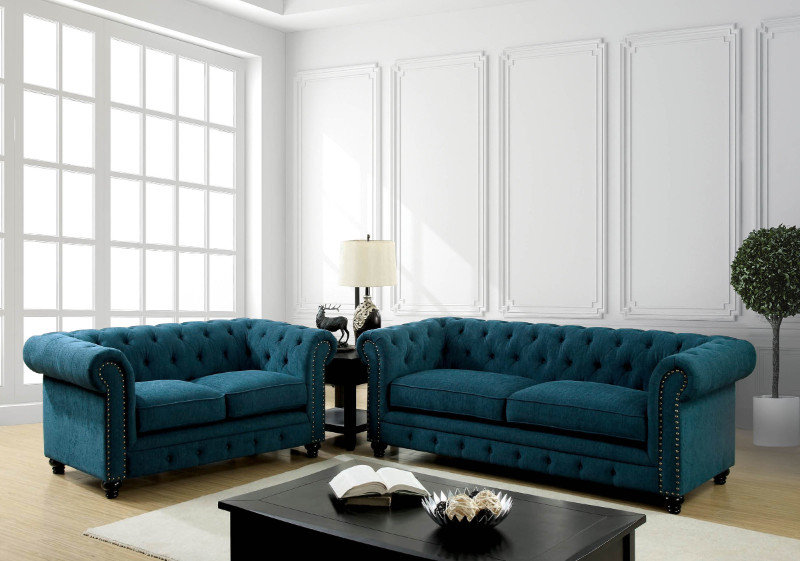 CM6269TL 2 pc Stanford collection dark teal fabric upholstered traditional style sofa and love seat set with nail head trim