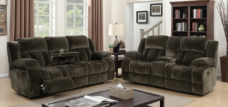 2 pc Sadhbh brown champion fabric upholstered sofa and love seat with recliner ends