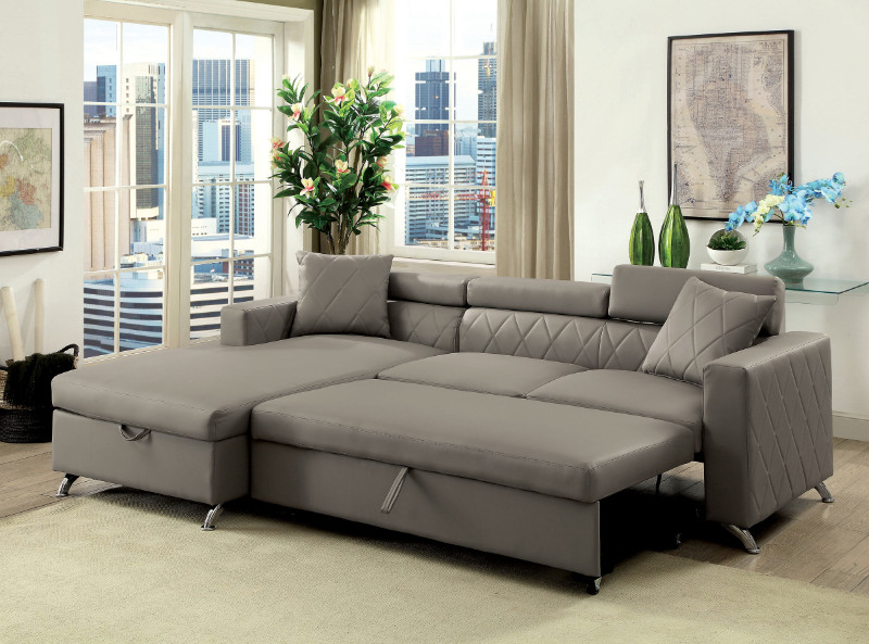 Strange Cm6292 2 Pc Dayna Gray Leatherette Sectional Sofa Set With Pull Out Sleep Area Squirreltailoven Fun Painted Chair Ideas Images Squirreltailovenorg