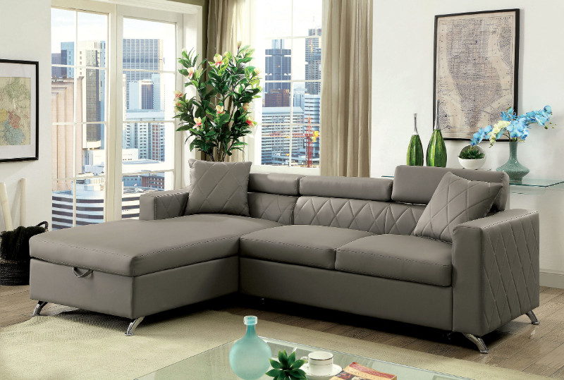 Furniture of america CM6292 2 pc dayna gray leatherette sectional sofa set with pull out sleep area