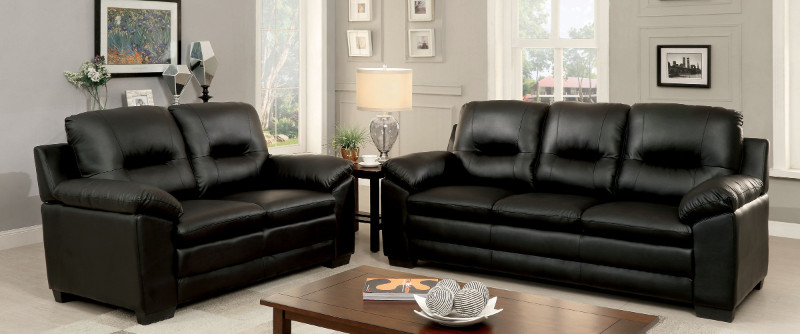 CM6324BK 2 pc Parma collection contemporary style black padded leatherette sofa and love seat with overstuffed arms