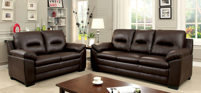 CM6324BR 2 pc Parma collection contemporary style brown padded leatherette sofa and love seat with overstuffed arms