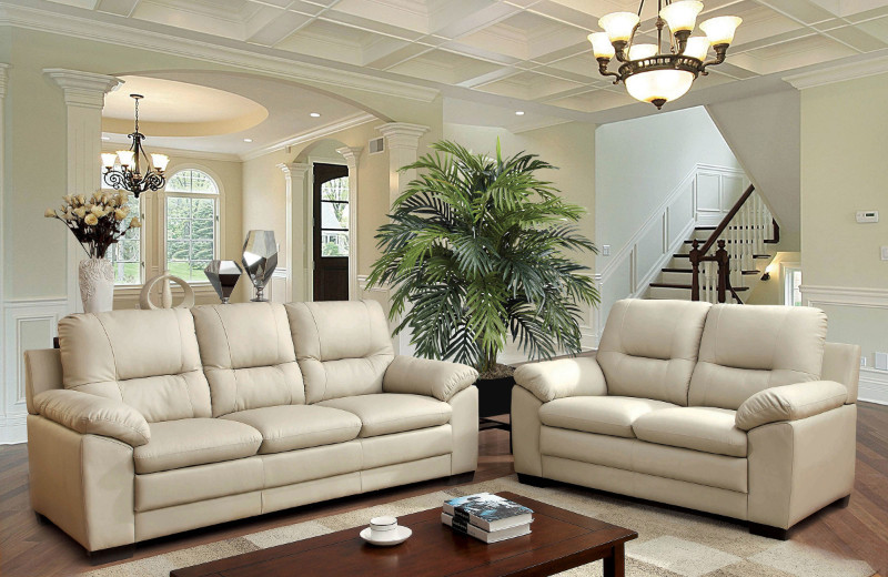 Furniture of america CM6324IV 2 pc parma ivory padded leatherette sofa and love seat set