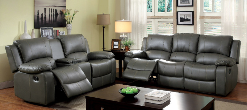 CM6326 2 pc Sarles collection transitional style gray faux leather standard motion sofa and love seat with recliner ends