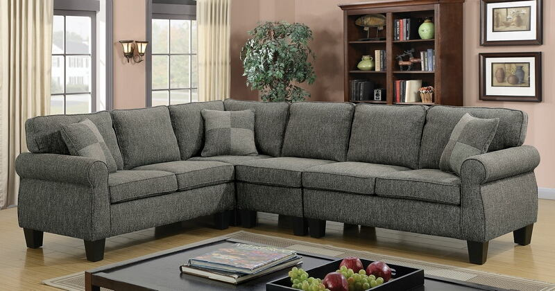CM6329GY 4 pc Rhian collection dark gray linen like fabric upholstered sectional sofa with rounded arms