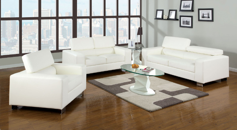 Furniture of america CM6336WH 3 pc makri white bonded leather sofa , love seat , chair foldable headrests chrome legs