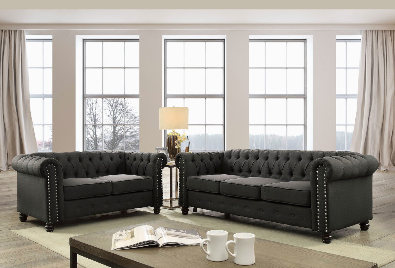 Furniture of america CM6342GY 2 pc Winifred gray linen like fabric sofa and love seat set with tufted backs
