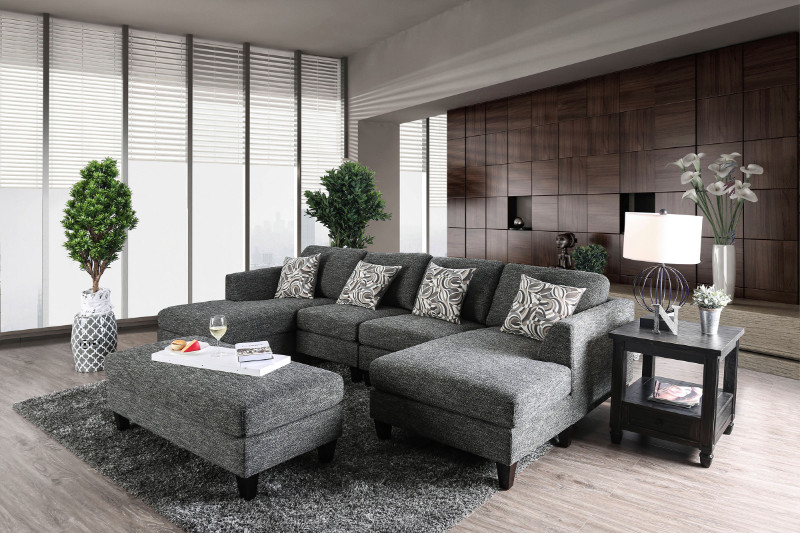 Brilliant Cm6363 5Pc 5 Pc Lowry Gray Chenille Fabric Sectional And Ottoman Short Links Chair Design For Home Short Linksinfo