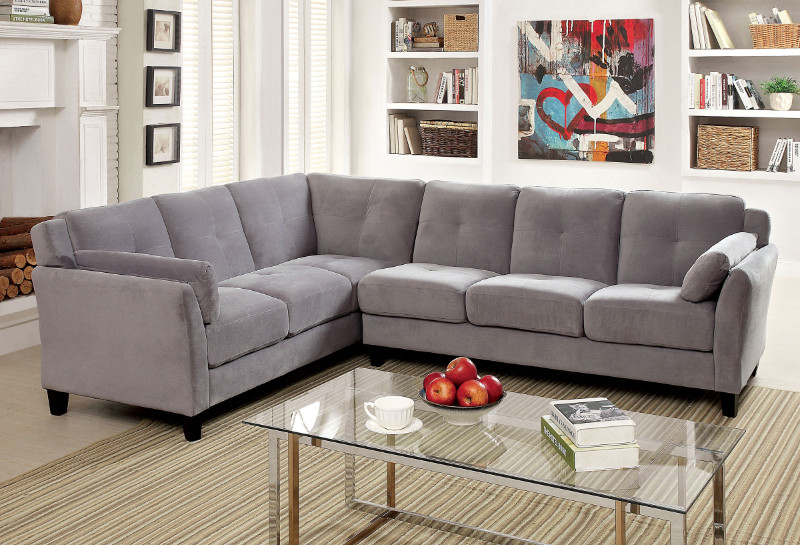 CM6368GY 2 pc Peever collection contemporary style gray flannelette sectional sofa with tufted back and padded arms