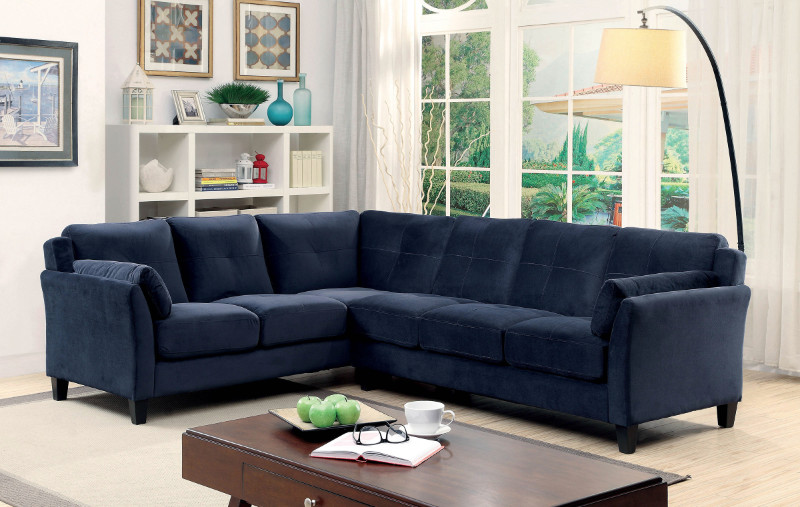CM6368NV 2 pc Peever collection contemporary style navy flannelette sectional sofa with tufted back and padded arms