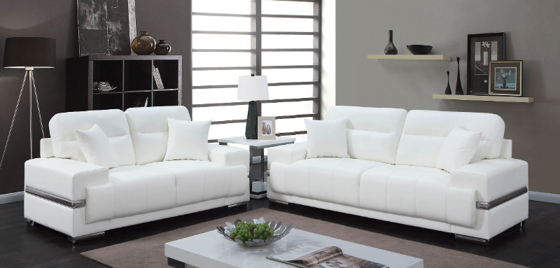 Furniture of america CM6411WH 2 pc zibak white breathable leatherette modern style sofa and love seat