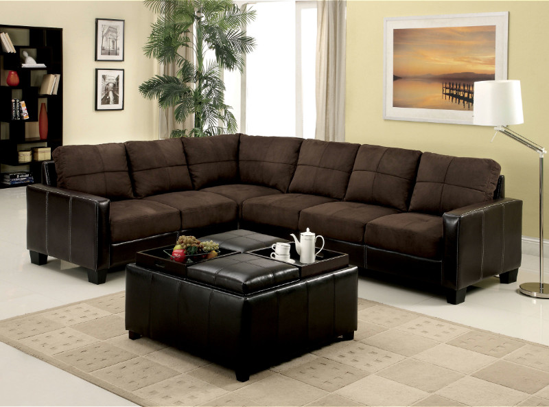 Furniture of america CM6453DK Lavena ii chocolate elephant skin microfiber and vinyl sectional sofa set