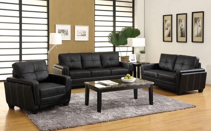 CM6485 3 Pc. Blacksburg Contemporary Style Black Leatherette Sofa Set