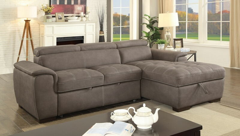 2 pc Patty collection ash brown fabric upholstered sectional sofa set with pull out bed base and storage chaise