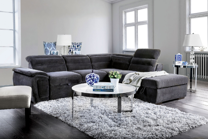 Furniture of america CM6521GY 3 pc Felicity dark gray chenille fabric sectional sofa set with pull out sleep area