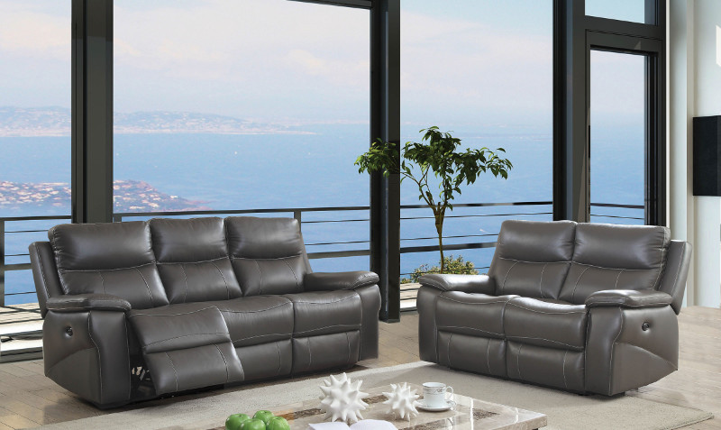 Furniture of america CM6540 2 pc Lila grey top grain leather match sofa and love seat with recliner ends